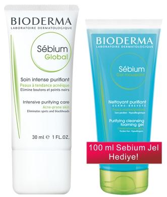 Bioderma - Bioderma Sebium Global Arındırıcı Bakım Kremi 30 ml - Temizleme Jeli Hediyeli