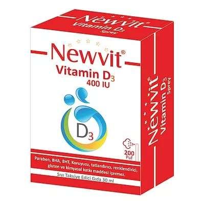 Newvit - Newvit Vitamin D3 Sprey 400 IU 30 ml