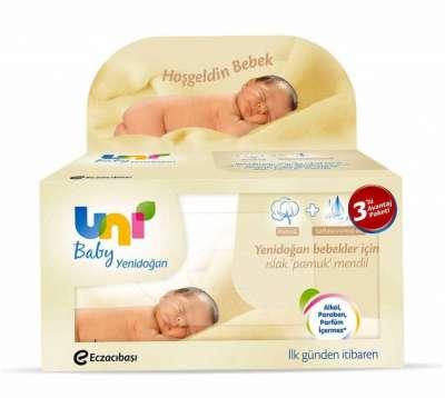 Eczacıbaşı - Uni Baby Yenidoğan Islak Pamuk Mendil 3'lü Paket